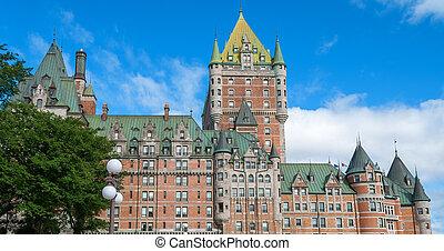 美しい, 都市, ホテル, de, frontenac., ケベック, 城, 光景
