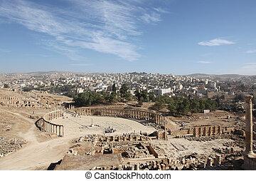 美しい, 都市, 古代, フォーラム, jerash, オバール, 光景