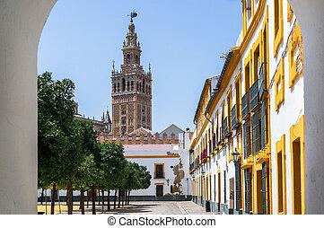 美しい, 都市, 魅力, 通り, seville, すばらしい