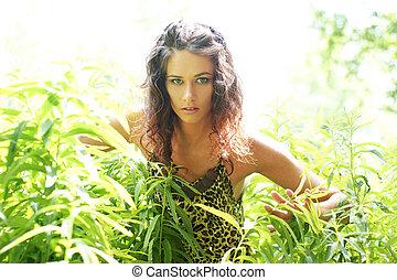 美しい, 野蛮, 女の子, 若い, ジャングル