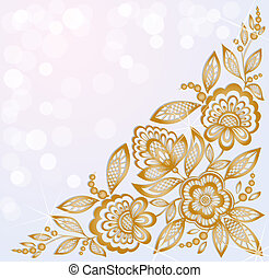 美しい, 金, 刻まれた, 背景, コーナー, 飾られる, 花