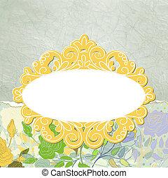 美しい, 金, 挨拶, eps, roses., 8, カード
