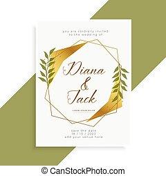 美しい, 金, 結婚式, デザイン, 招待, カード