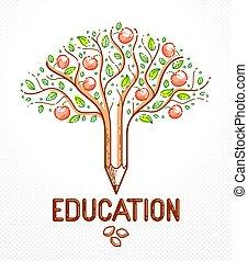 美しい, 鉛筆, スタイル, 概念, アップル, ∥あるいは∥, 木のフルーツ, シンボル, 種, ベクトル, 結合された, 成果, ロゴ, icon., 教育, consequences., 線である