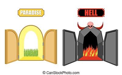 美しい, 門, purgatory., 明るい, christian., 地獄, 開いた, 死, satan, ...