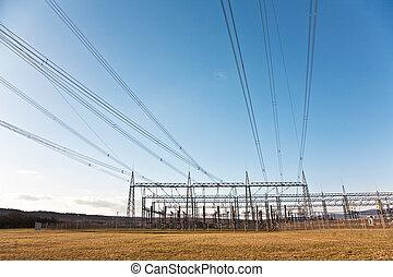 美しい, 電気, エネルギー, タワー, 風景