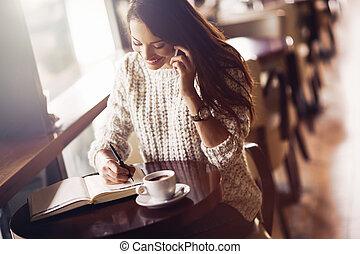 美しい, 電話の女性, 話し, 執筆