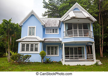 美しい, 青い家, 木, 緑の森林, 大きい, 草
