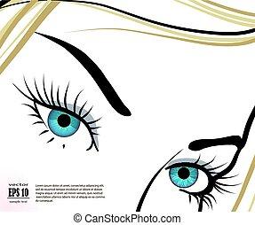 美しい, 青い目, まつげ, 長い間