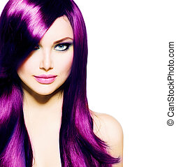 美しい, 青い目, 健康, 長い髪, 紫色, 女の子