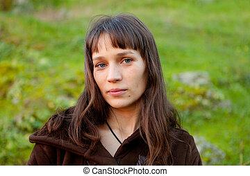 美しい, 青い目, 女, ブルネット