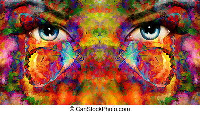 美しい, 青い目, 色, コラージュ, 効果, 光を発する, 対, 女性, 絵, さび, butterfly.