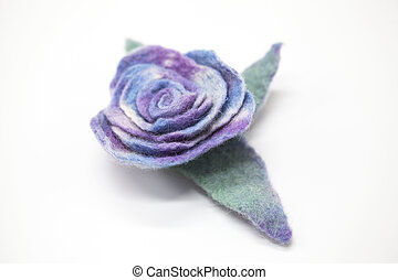 美しい, 青, バラ, 花, 粉にされた, 羊毛, 上に, a, 白, バックグラウンド。