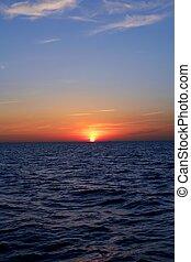 美しい, 青, 上に, 空, 海洋, 日没, 日の出, 海, 赤