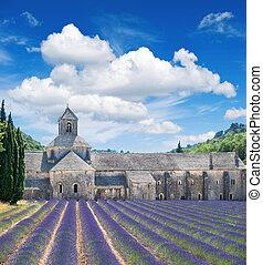 美しい, 青, 中世, 空, 曇り, 城, 風景