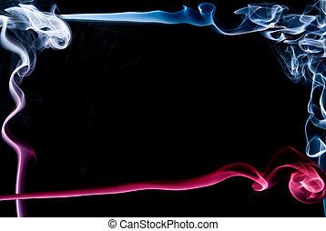 美しい, 青, 作られた, 抽象的, 煙, ??of, フレーム, 赤