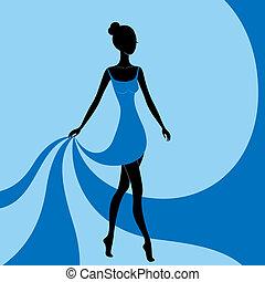 美しい, 青, 女の子, 服