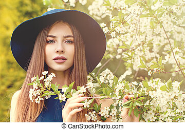 美しい, 青, 女, 春, 屋外で, 肖像画, 帽子