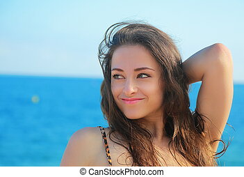 美しい, 青, 女, 空, portrat, 見る, バックグラウンド。, クローズアップ, 海
