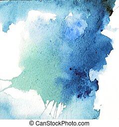 美しい, 青, 水彩画, 背景