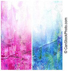 美しい, 青, 水彩画, 背景, 白, マゼンタ, 柔らかい