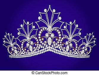 美しい, 青, 私達, 王冠, 女らしい, 回転, 背景, 結婚式