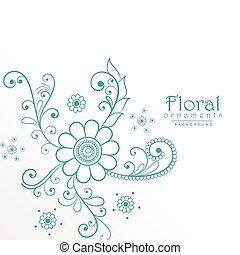 美しい, 青, 装飾, 花, 背景