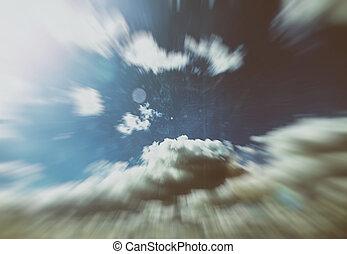 美しい, 青, 雲, 太陽, 空, レトロ