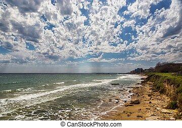 美しい, 青, 雲, 空, 海景, 大きい日曜日