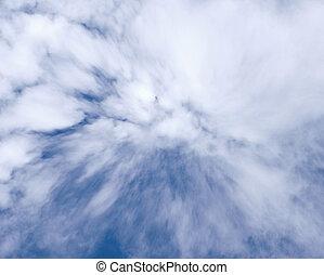 美しい, 青, 雲, 空, 風が強い, 背景, 白