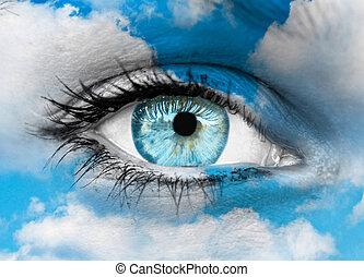 美しい, 青, 霊歌, 概念, 目, -, に対して, 雲
