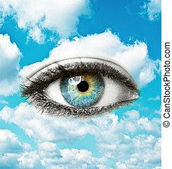 美しい, 青, 霊歌, 概念, 目, 空, -, 明るい, 人間