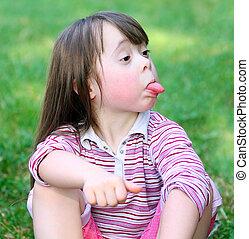 美しい, 面白い, 女の子, 公園, 肖像画