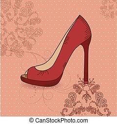 美しい, 靴, 女性