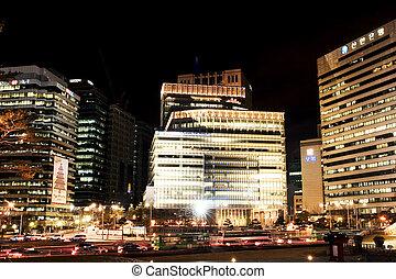 美しい, 韓国, ソウル, ダウンタウンに, 夜, 南