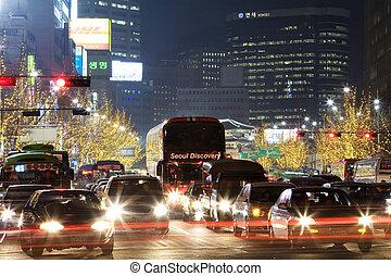 美しい, 韓国, ソウル, 夜, 南, 光景