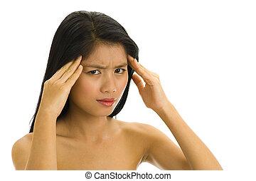 美しい, 頭痛, 女, 若い, アジア人