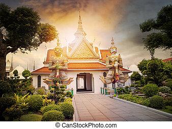 美しい, 風景, の, wat arun, 寺院, 重要, ランドマーク, そして, 旅行, destinaton,...