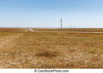 美しい, 風景, 力, mongolia, ステップ, mongolian, 線, 高電圧