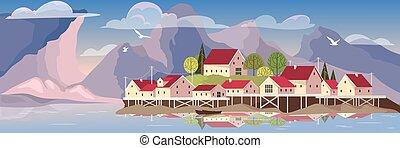 美しい, 風景, 湖, village.