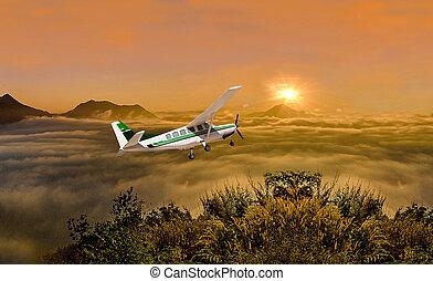 美しい, 飛行機, 日の出, 背景