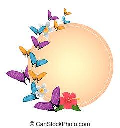 美しい, 飛行, 蝶, 花, グループ