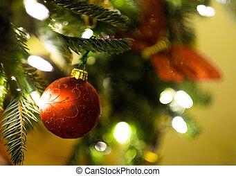 美しい, 飾られる, 木, クリスマス