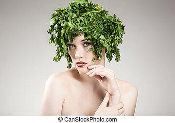 美しい, ∥髪をした∥, 女, ポーズを取る, パセリ