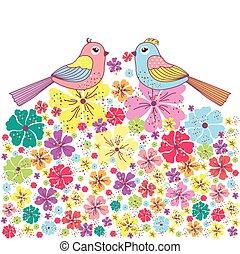 美しい, 鳥, カード