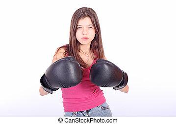 美しい, 10代少女, ボクシング, 若い