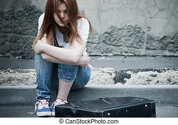 美しい, asphalt., モデル, 写真, 若い, 悲しい, 調子, 薄れていった, 女の子, 寒い