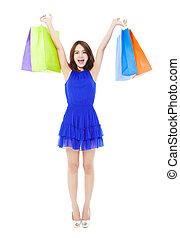 美しい, bags., 女性買い物, 若い