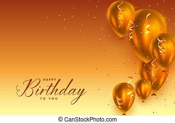 美しい, birthday, 幸せ, 風船, 祝福, デザイン, 背景