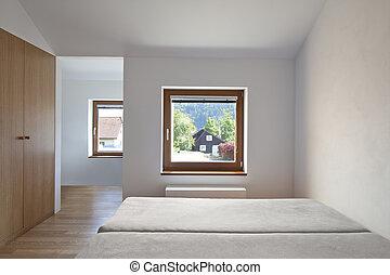 美しい, built-in, 寝室, ワードローブ, 新しい, 光景
